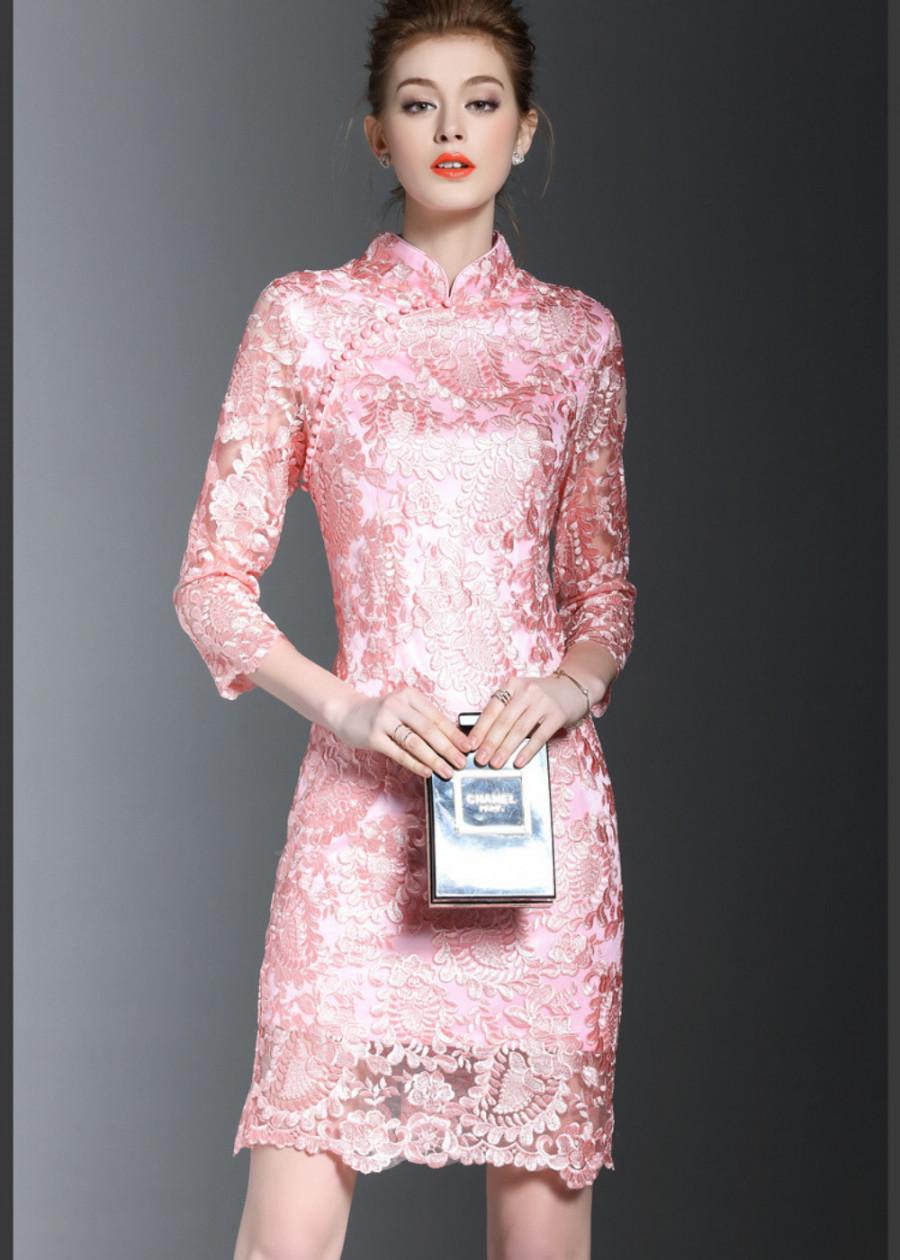 Đầm ren suông sườn xám trung niên tay lỡ dự tiệc trẻ trung sang trọng thanh lịch Quảng châu D268