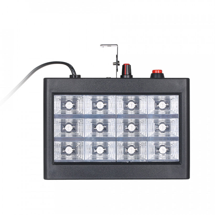 AC110-240V 15W 12 LED Mini Strobe RGB Light Stage Lamp Lighting Fxture Supported Auto-running/ Sound Activated Speed