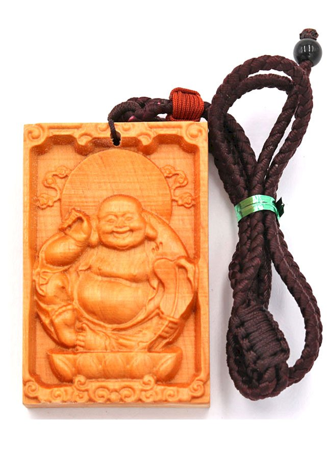 Vòng cổ gỗ hoàng đàn khắc hình Phật Di lặc DMG22