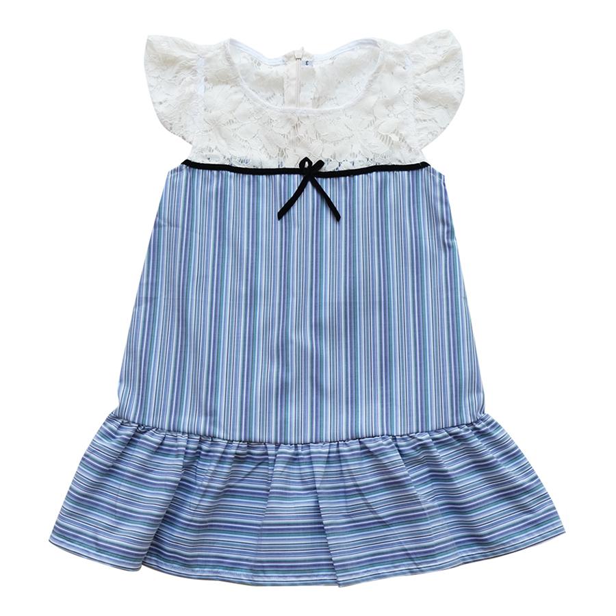 Đầm Bé Gái CucKeo Kids Sọc Xanh To Đô Ren T101857 - Xanh Tím