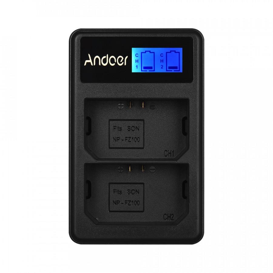 Bộ Sạc Pin USB Andoer LCD2-FZ100 Cho Pin Máy Ảnh Sony NP-FZ100