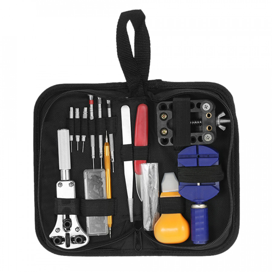 YD028 146PCS Professional Watch Repair Tool Kit Watchmaker Case Opener Link Remover Spring Bar Set W/ Carry Bag