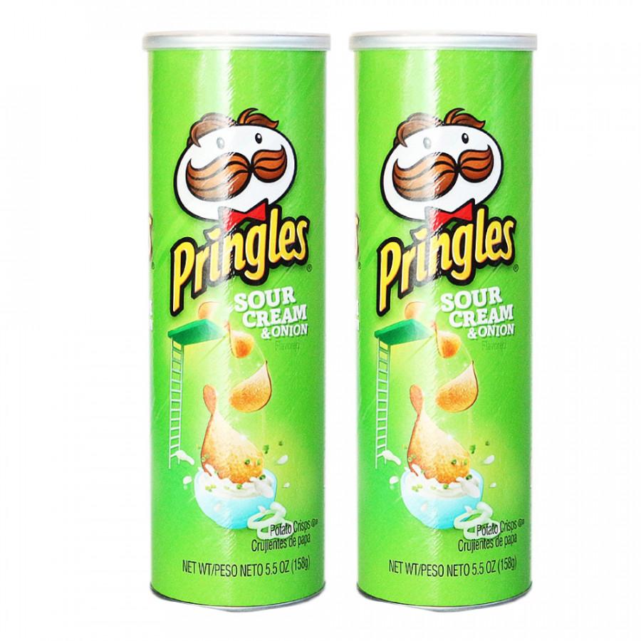Bộ 2 Khoai tây chiên Pringles  Sour Cream  Onion 158g - Nhập khẩu Mỹ