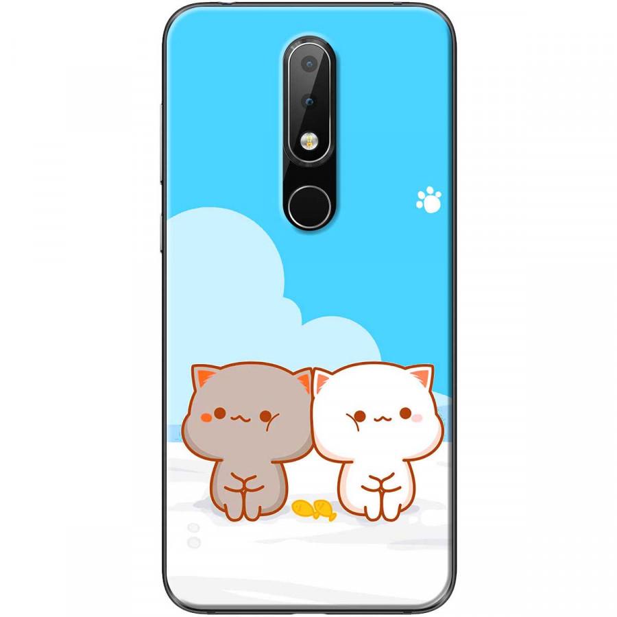 Ốp lưng dành cho điện thoại Nokia 6.1 Plus Mẫu Mèo mập nền xanh