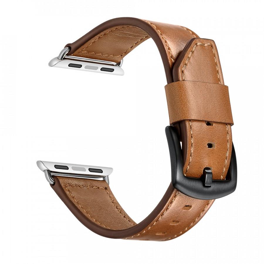 Dây đồng hồ Apple Watch 44mm/42mm/40mm/38mm, dây da 08 lưỡi dao khóa thép không gỉ