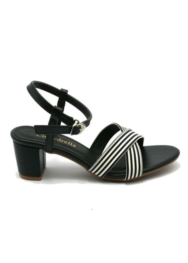 Giày Sandal Nữ Cao Gót Sọc Quai Chéo Cindydrella C127D - Đen
