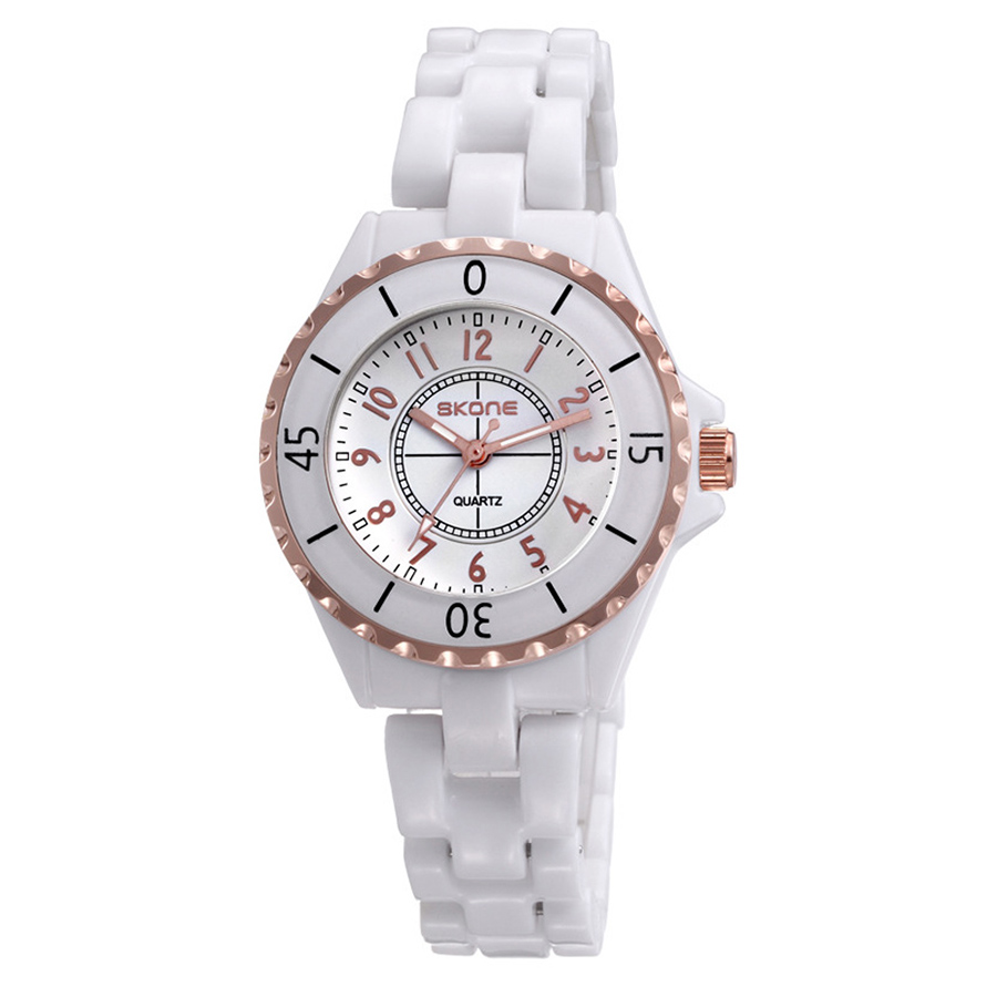 SKONE Gorgeous Elegant Analog Quartz Watch Water Resistant Ceramic Watchband Precise Wristwatch for Women