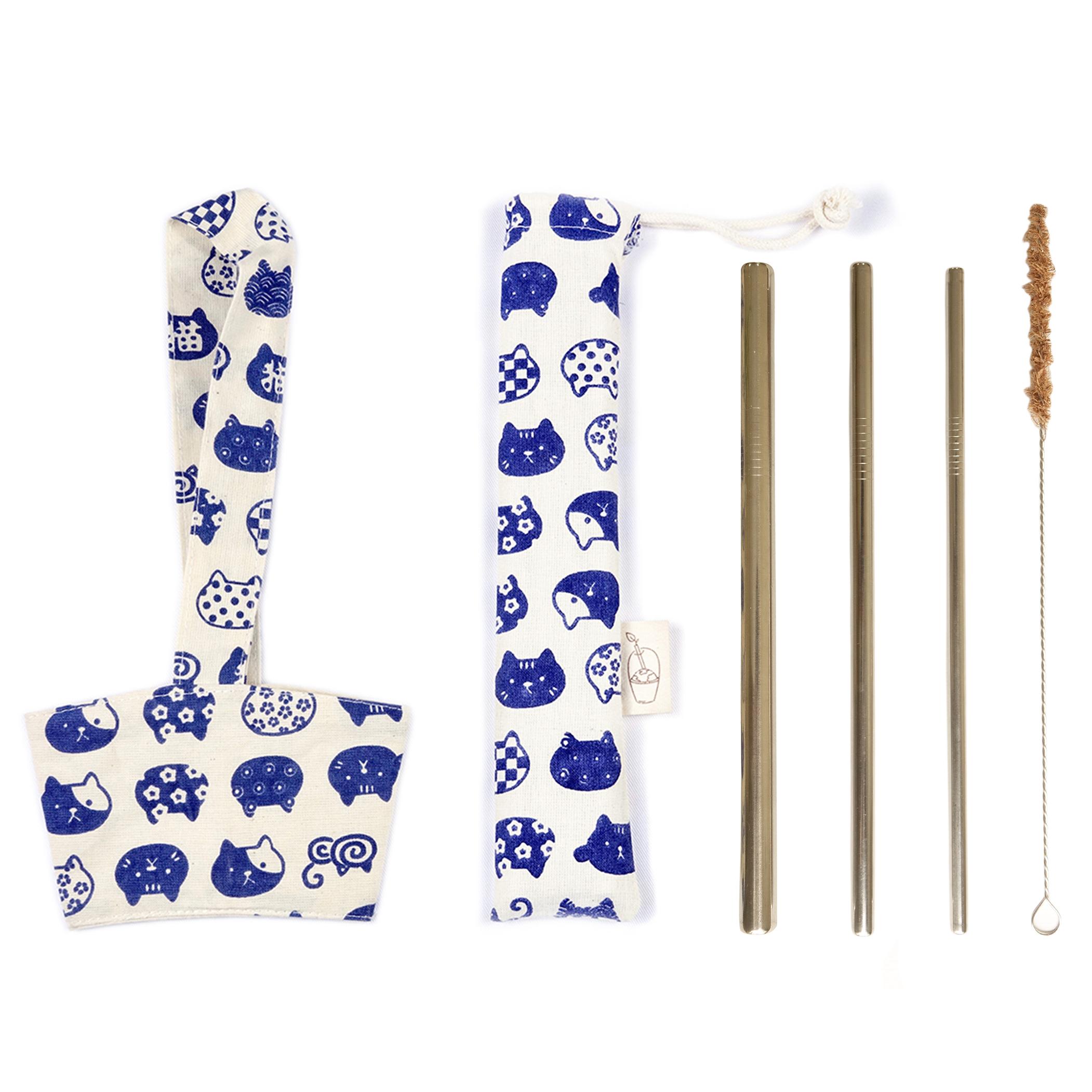 Combo Bộ 3 Ống hút kim loại Inox, Cọ rửa kim loại, Túi đựng + Quai vải đựng ly Mèo Xanh eco-friendly, thân thiện môi...