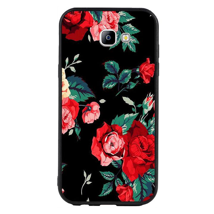 Ốp lưng nhựa cứng viền dẻo TPU cho Samsung Galaxy A7 2017  - Rose 01