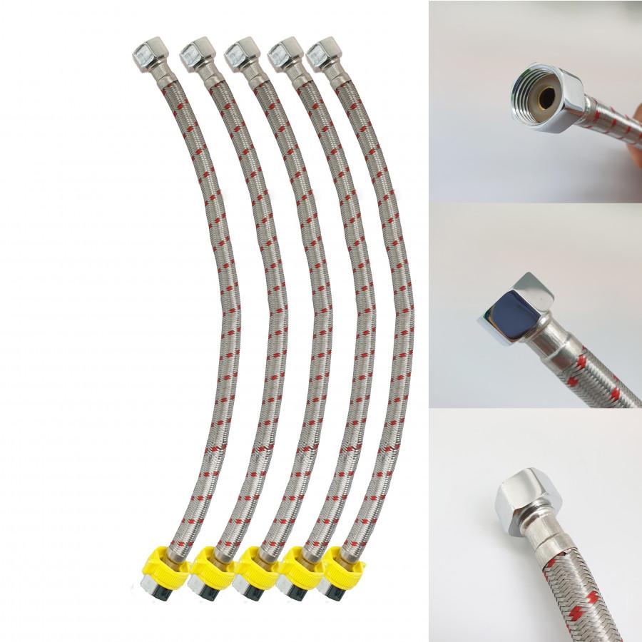 Bộ 5 dây cấp nước lạnh inox SUS 304 Cao Cấp_ dây cấp nước 4 tấc_ dây cấp 40cm_ dây cấp cho lavabo_dây cấp vòi...
