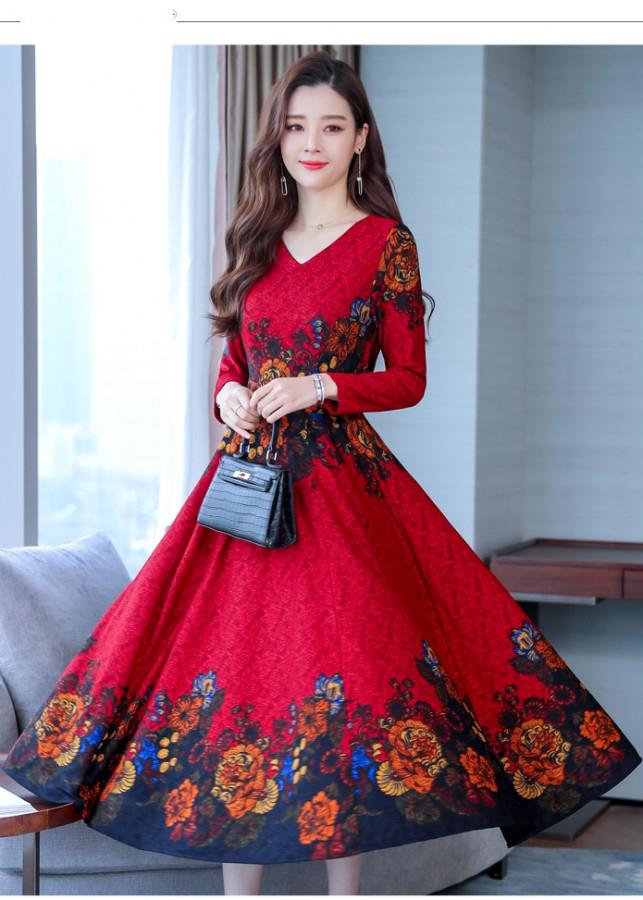 Đầm Trung niên_váy Trung niên_đầm xòe trung niên_Đầm Xòe Đỏ_HDX001R