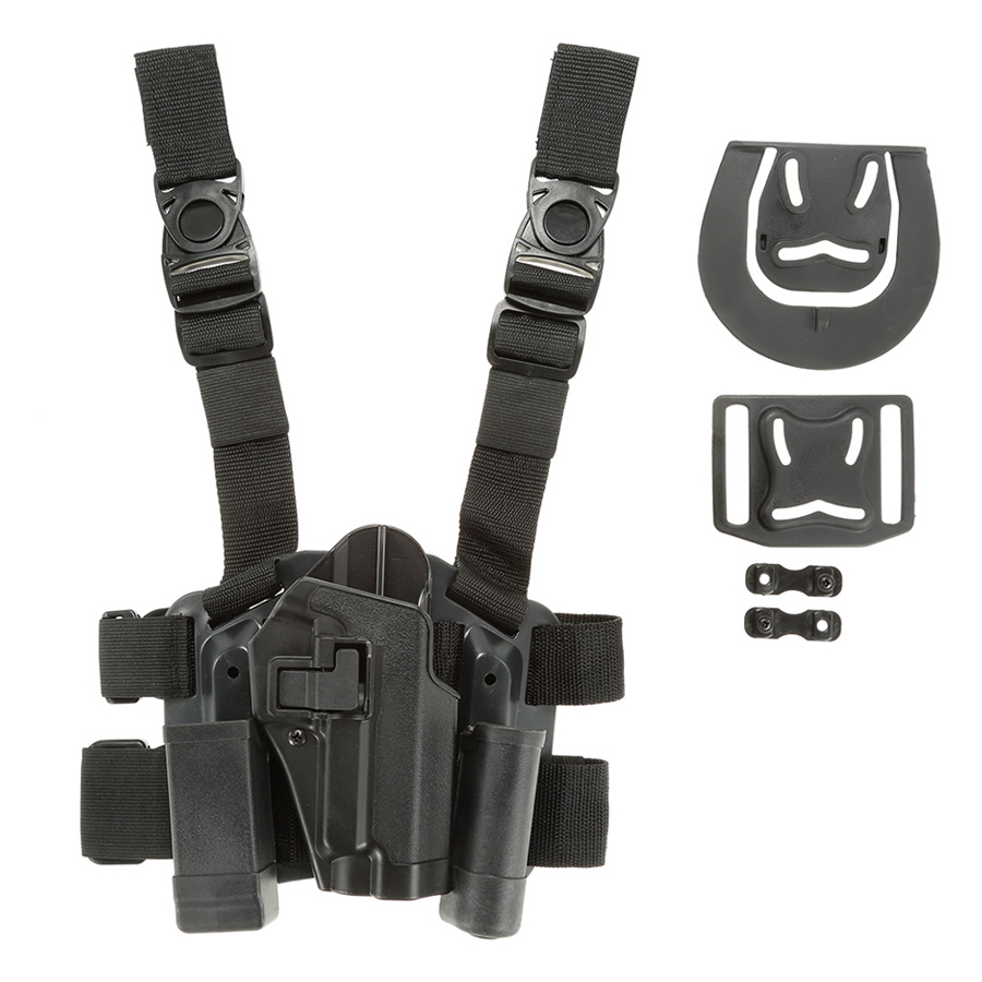 4 in 1 Tactical Hunting Quick Release Drop Leg Thigh Rig Holster Platform with 2 Pouches for P226 - Black