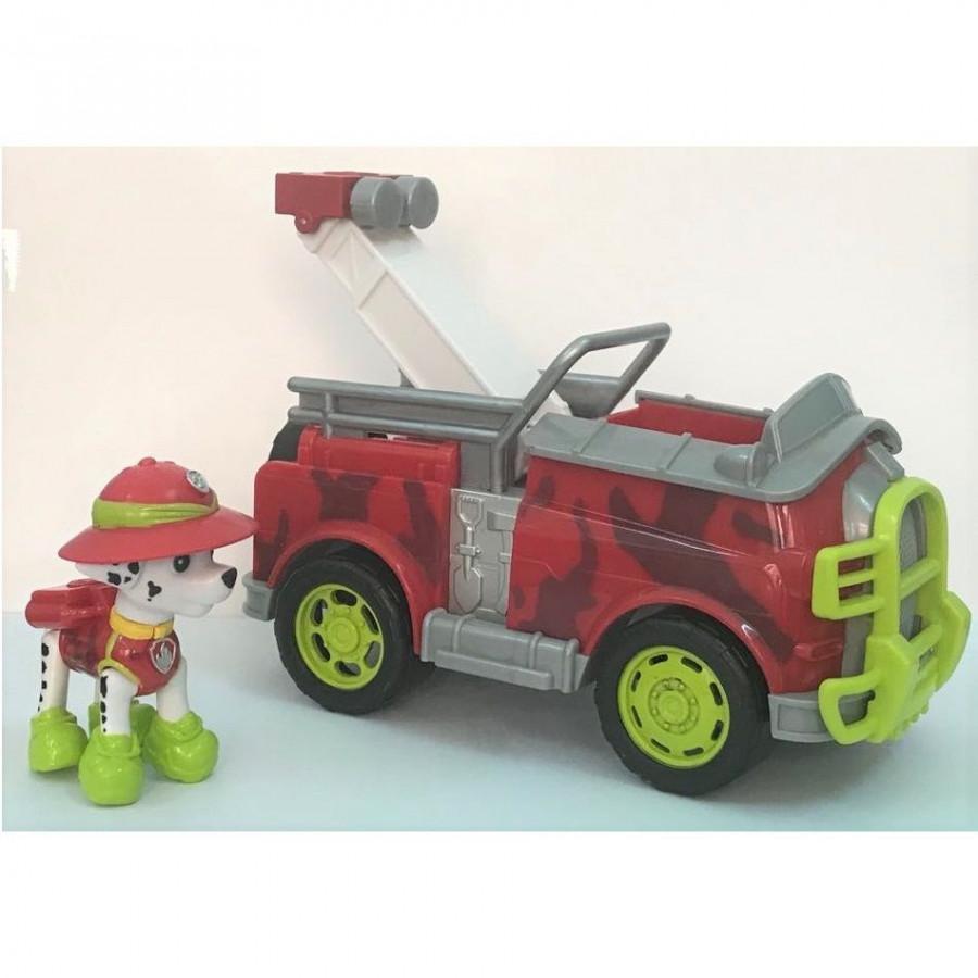 Bộ mô hình chó màu đỏ lái xe cứu hỏa