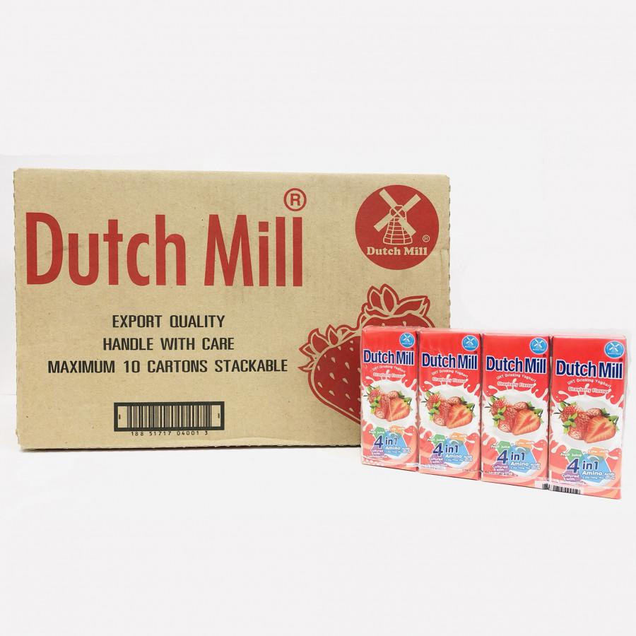 Thùng 48 Hộp Sữa Chua Uống Dutch Mill Vị Dâu 180ML