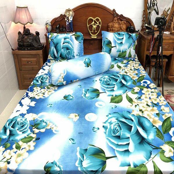 Bộ Drap Thun Lạnh Hàn Quốc hoa hồng xanh