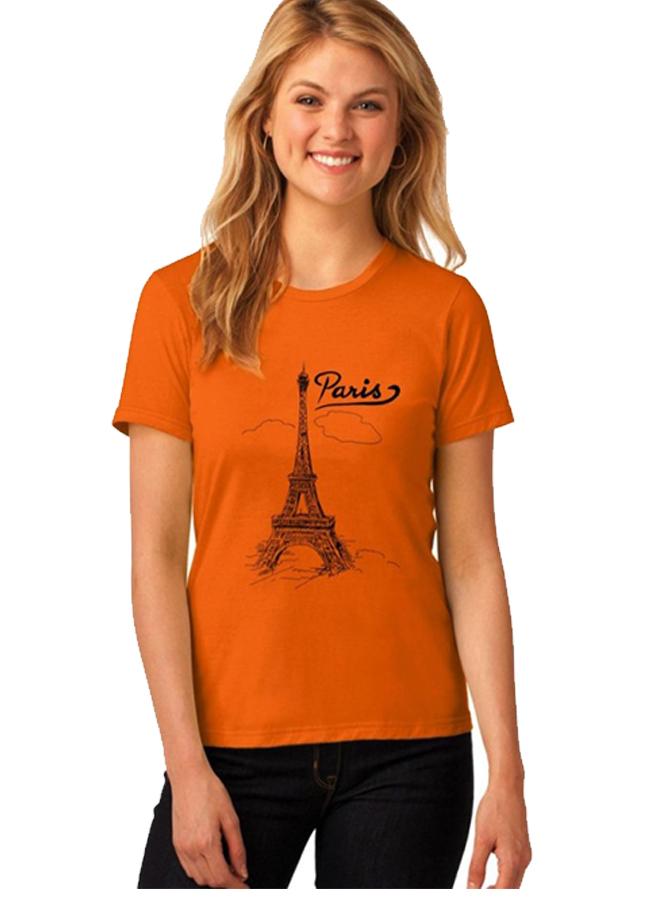 Áo thun nữ paris mây cam d640 thương hiệu Td