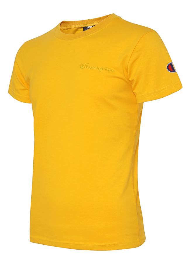 Áo thun nam cổ tròn cotton ngắn tay phối logo thêu thể thao (Vàng)