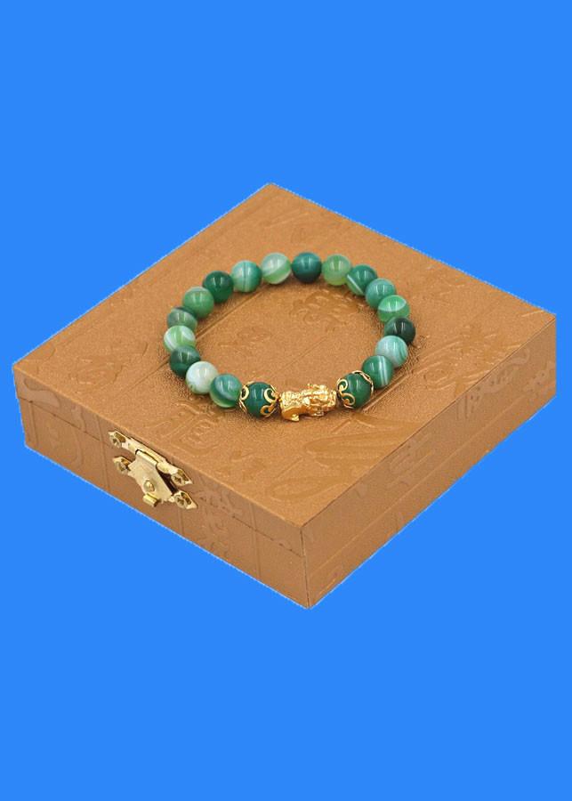 Chuỗi đeo tay Thạch Anh Xanh Lá Sọc 8 ly - cẩn Tỳ Hưu Phong Thủy inox vàng VTAXLSTHHKV8 - hợp mệnh Hỏa, mệnh Mộc