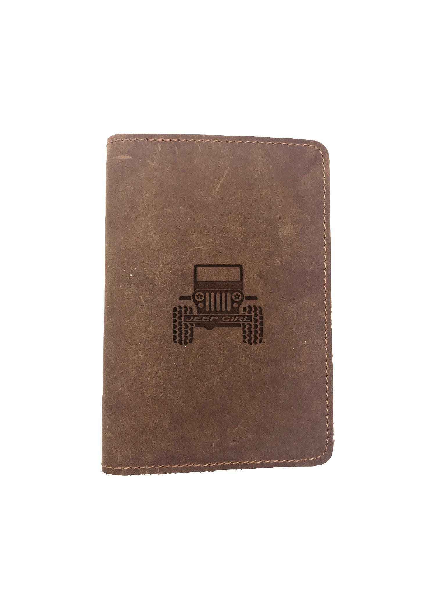 Passport Cover Bao Da Hộ Chiếu Da Sáp Khắc Hình Cô gái JEEP GIRL (BROWN)