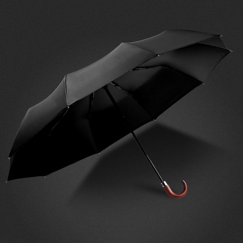 Ô dù cầm tay tự động cao cấp chống tia UV tay cầm gỗ cong (Black)
