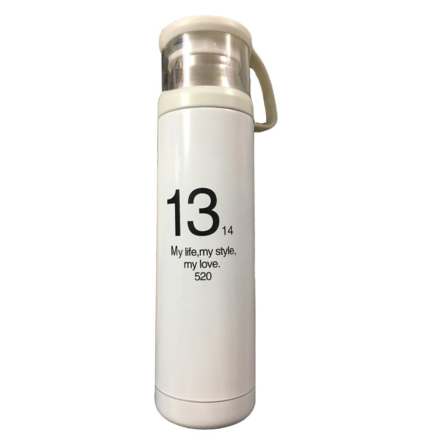 Bình Đựng Nước Giữ Nhiệt Inox 500 ML My Life, My Style, My Love - Có Nắp Làm Cốc Uống Nước