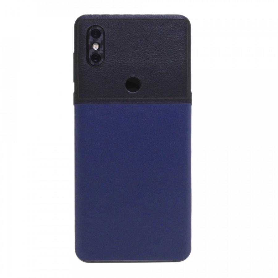Ốp da dán cho Xiaomi Mi Mix 3 - Da thật nhập khẩu cao cấp - Chính hãng (Ghép da navy + đen)