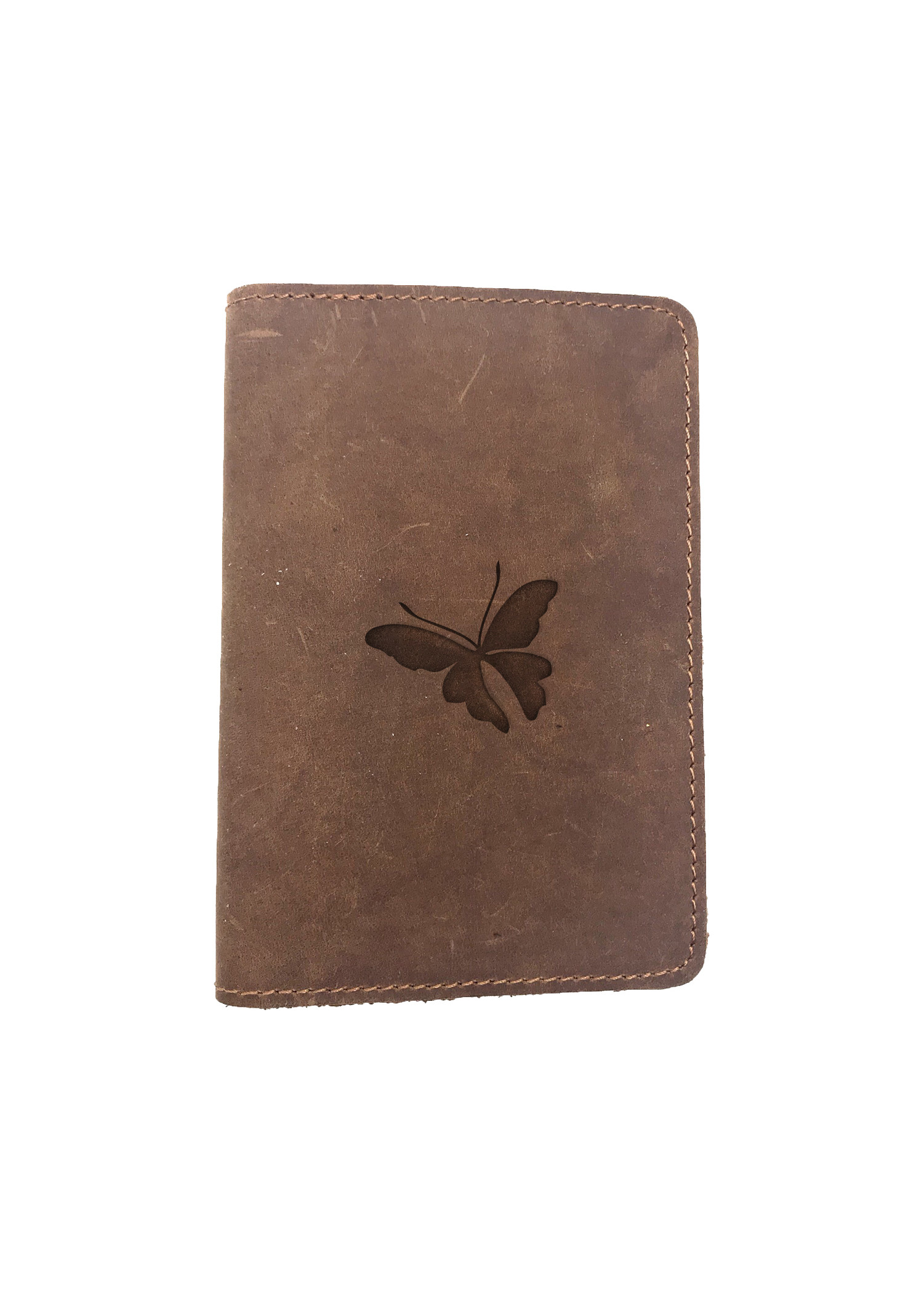 Passport Cover Bao Da Hộ Chiếu Da Sáp Khắc Hình Bướm BUTTERFLY STENCIL ART (BROWN)