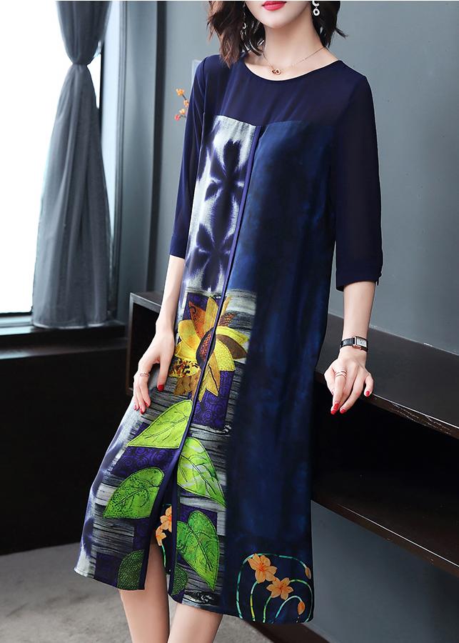 Đầm Suông Dạo Phố Kiểu Đầm Suông Big Size In Họa Tiết Hoa Hướng Dương Xanh Đen GOTI1568