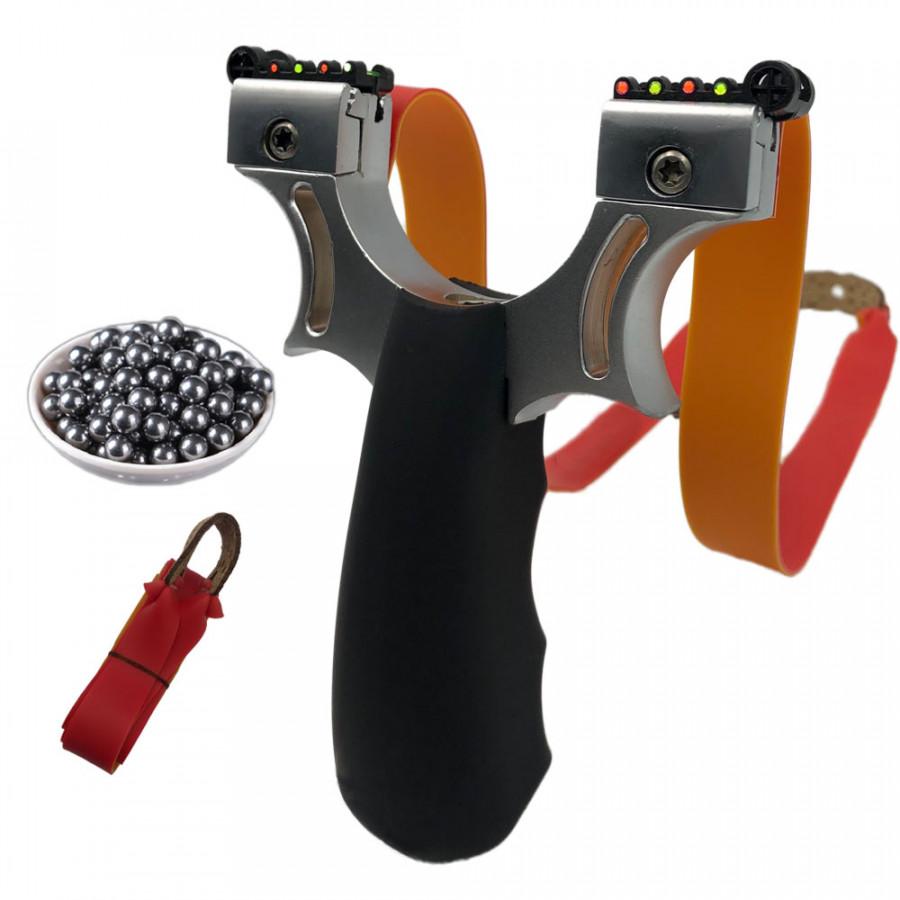 Bộ Ná Cao Su Dây Dẹt 2 Tâm Ngắm Thân ABS + 100 bi sắt 8mm + 02 Dây Dẹt 2 Lớp 1mm