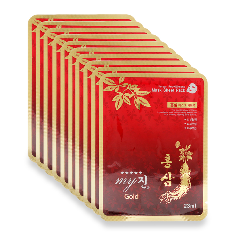 Đắp mặt hồng sâm Korea Red Ginseng Mask Sheet Pack My Gold hộp 10 gói