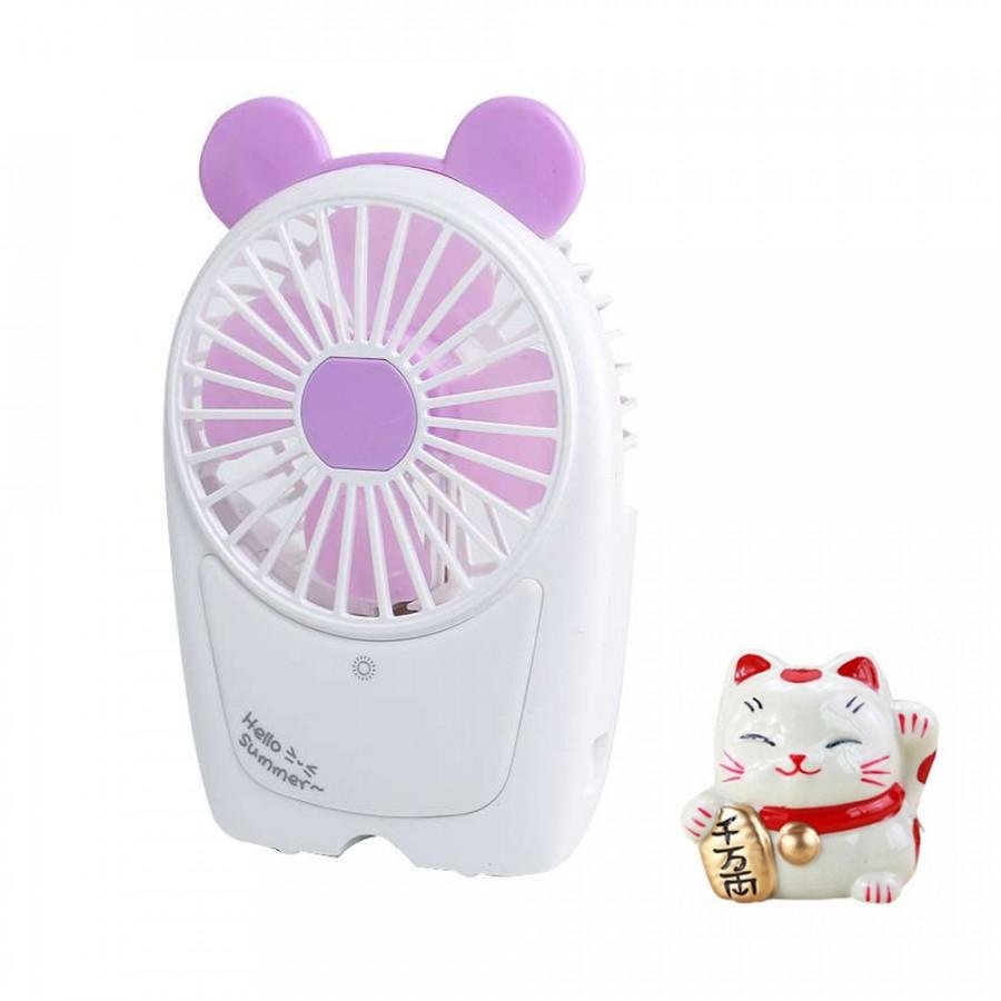 Quạt tích điện mini để bàn V10 tích hợp đèn LED chiếu sáng - Tặng mèo thần tài Neko trang trí