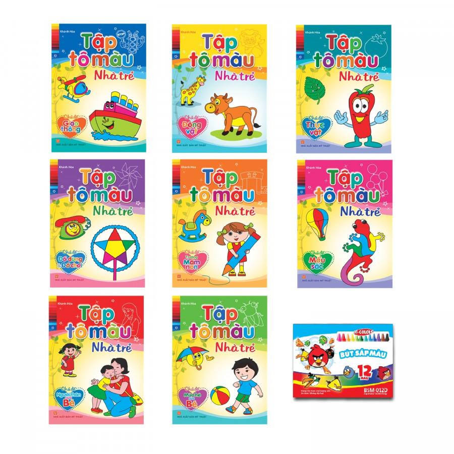 Combo 8 quyển Tập tô màu nhà trẻ + Tặng kèm 1 Hộp sáp màu