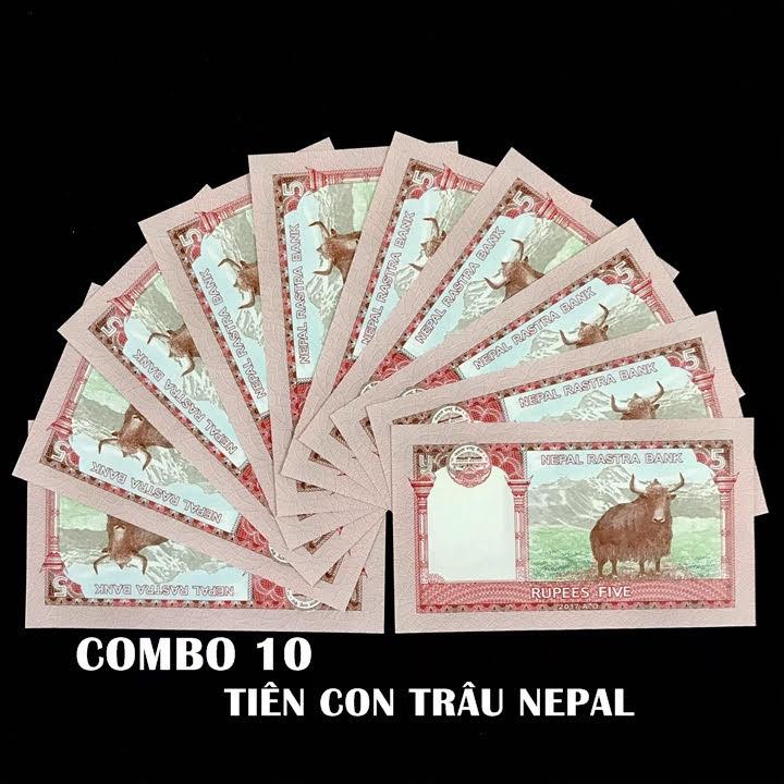 Combo 10 tờ lưu niệm hình con Trâu của Nepal, dùng để sưu tầm, lưu niệm, làm tiền lì xì độc lạ, may mắn, ý nghĩa