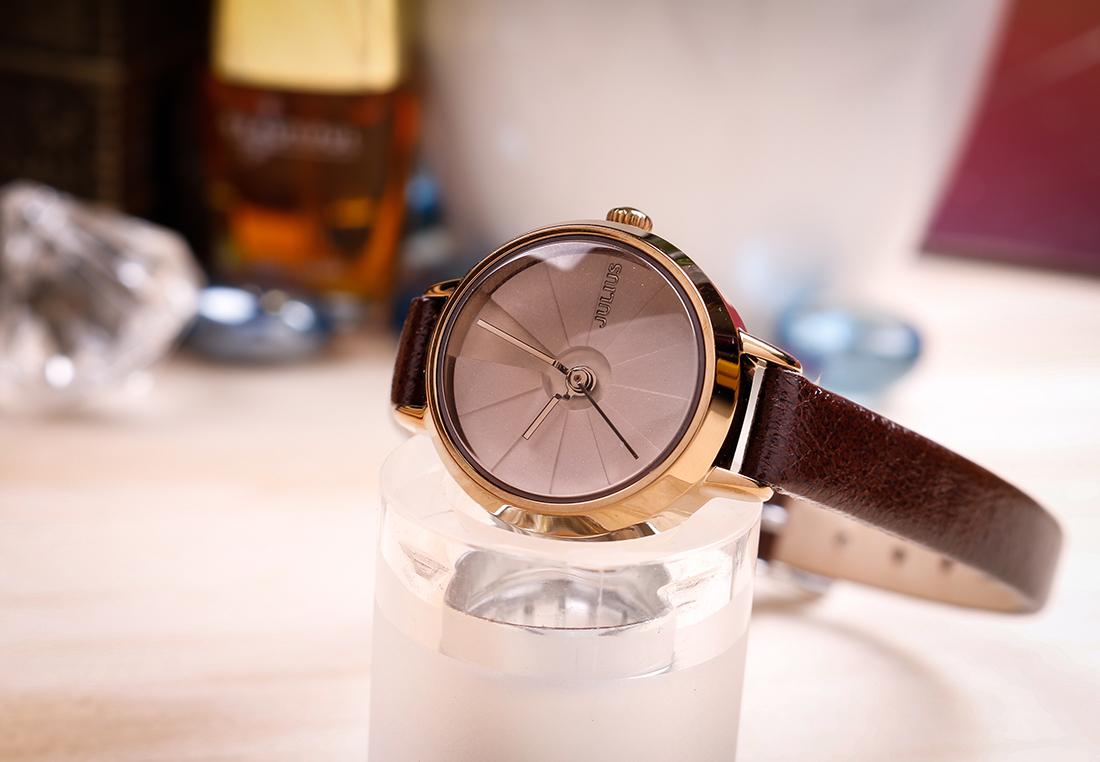 Đồng hồ nữ JA-979E Julius Hàn Quốc dây da (Nâu)