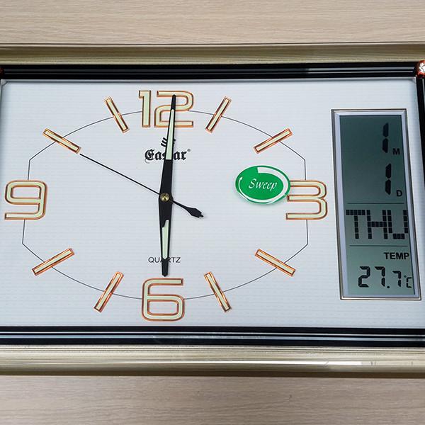 Đồng hồ Eastar Chữ nhật Dạ Quang , Kim Trôi & Màn hình Điện tử Lịch, Nhiệt Độ