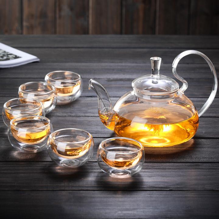 Bộ ấm chén pha trà thủy tinh có lõi lọc quai cong nghệ thuật