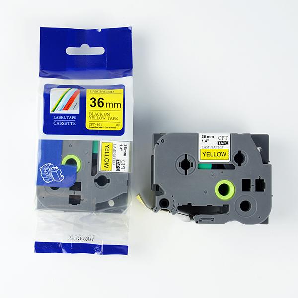Tape nhãn in tương thích CPT-661 dùng cho máy in nhãn Brother P-Touch (chữ đen nền vàng, 36mm)
