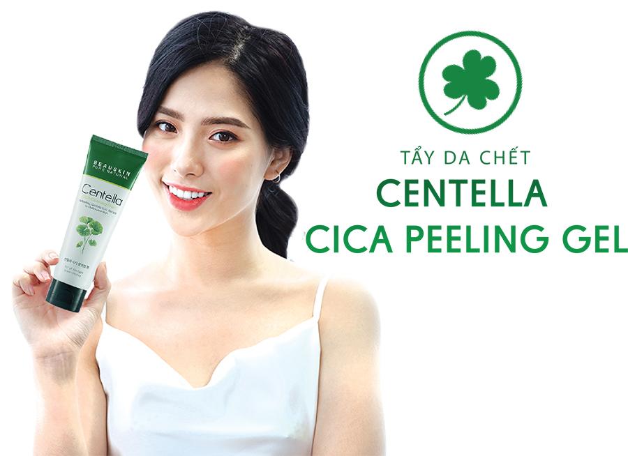 Tẩy da chết trắng da giảm mụn Beauskin Centella Cica Peeling Gel Hàn Quốc 150ml tặng kèm móc khoá