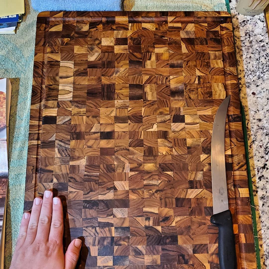 Thớt Gỗ Teak BUZEN Bản Siêu Lớn Dày Cao Cấp 51x38x3.8cm - Thớt gỗ Cứng Dày có rãnh chống tràn đặc biệt dùng làm khay phục vụ các món nướng BBQ