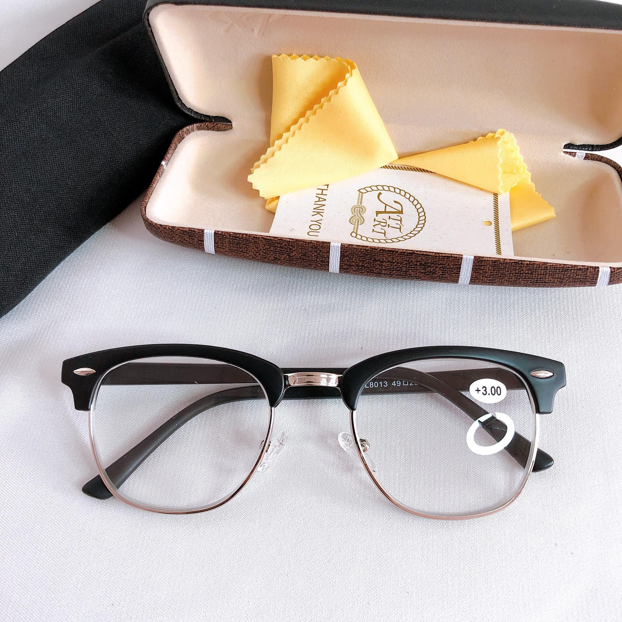 Kính lão thị viễn thị mắt sáng rõ khung tròn to cực trong và rõ chữ KVTO