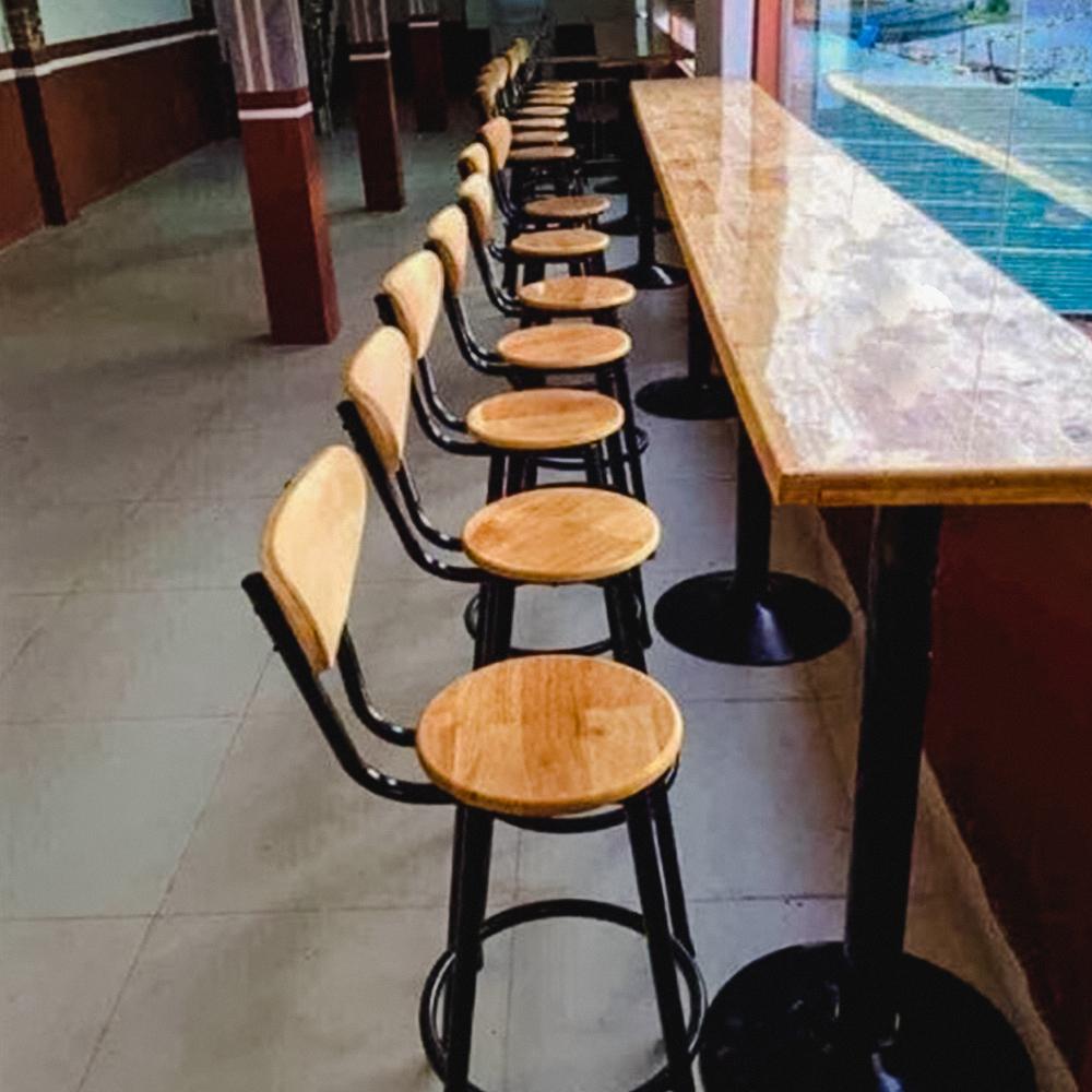 Ghế Bar Odda Mặt Gỗ Chân Thép Sơn Tĩnh Điện IBIE