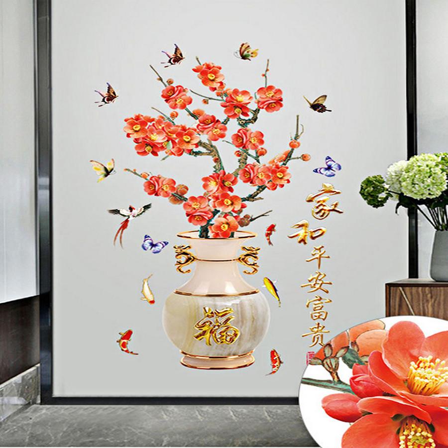 decal dán tường bình hoa đỏ 2 mảnh sk2019a