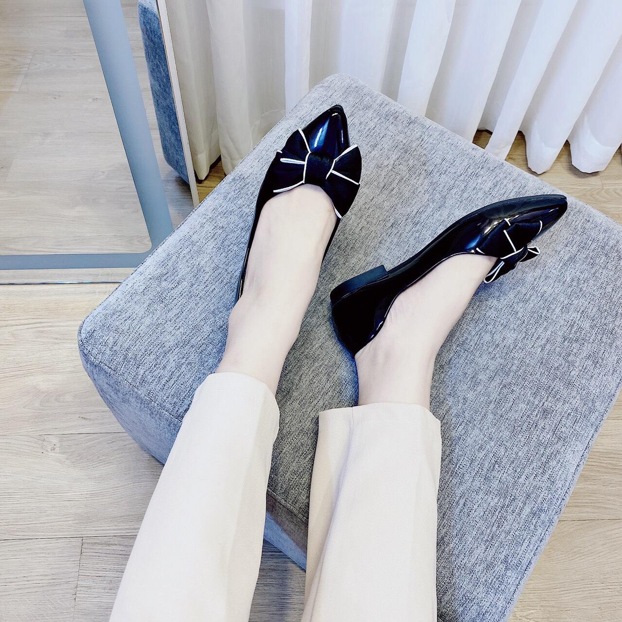 Giày bệt búp bê nữ mũi nhọn đính nơ xinh xắn da mềm êm chân - B20