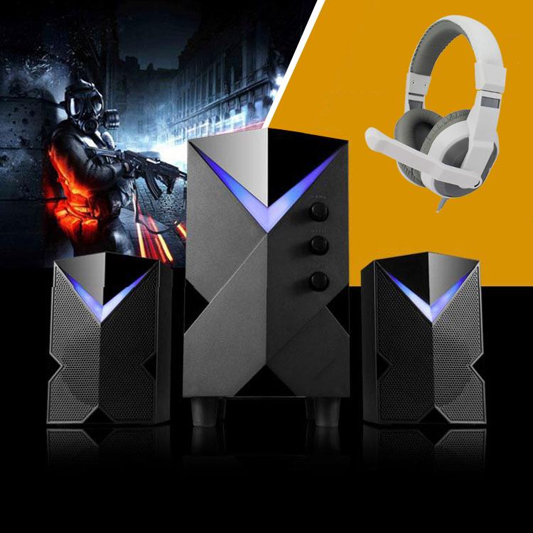 Combo Bộ 3 Loa Vi Tính Chất Lương Cao H8 Hỗ Trợ Bluetooth, Âm Thanh Siêu Trầm, Thiết Kế Sang Trọng Cao Cấp + Tặng Tai Nghe Chụp Tai Chuyên Game Cho Game Thủ Cao Cấp