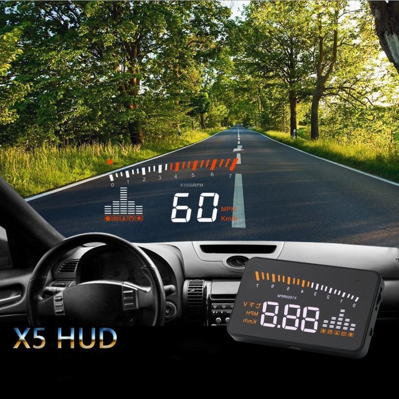 Bộ hiển thị và cảnh báo tốc độ lên kính lái HUD X5 cho xe hơi... Giá sock hàng mới !!!