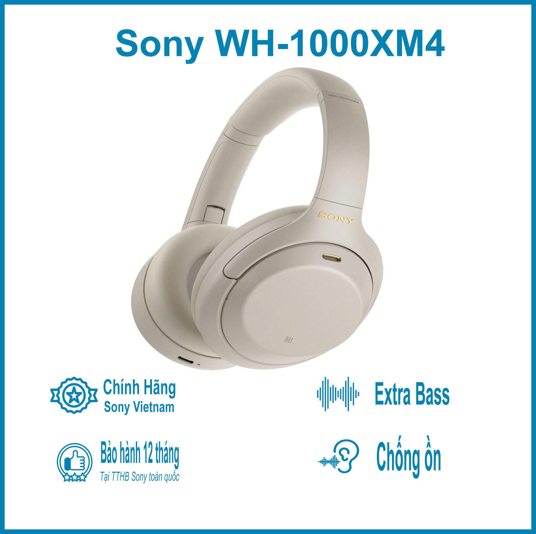Hình ảnh Tai Nghe Bluetooth Chụp Tai Sony WH-1000XM4 Hi-Res Noise Canceling - Hàng Chính Hãng