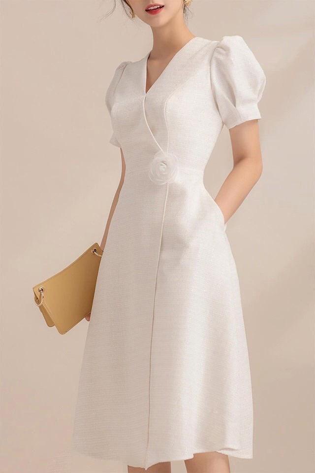 Đầm Xòe Đắp Chéo Cài Hoa Sang Trọng, Nữ Tính - MS380