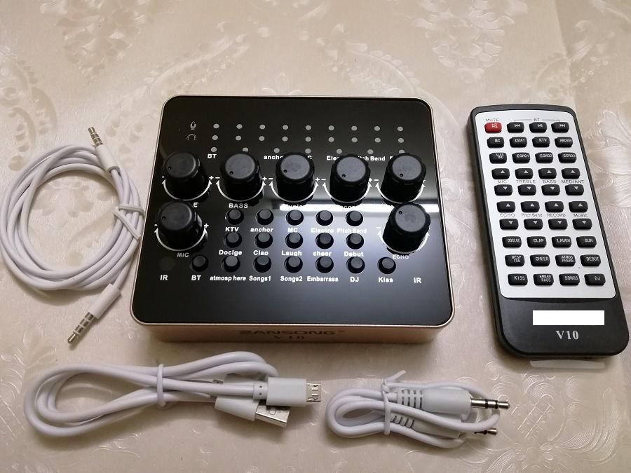 Bộ thu âm live stream Sound card V10 bluetooth và Mic ISK AT-100 hàng chính hãng đầy đủ phụ kiện