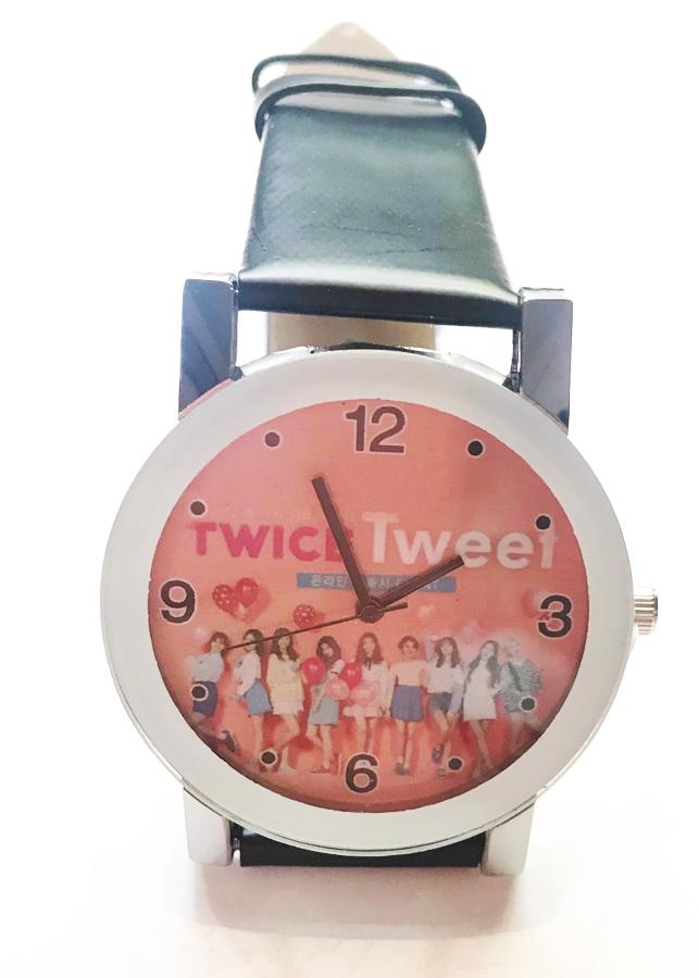 Đồng hồ Twice da Pu đen thiết kế thông minh sang trọng