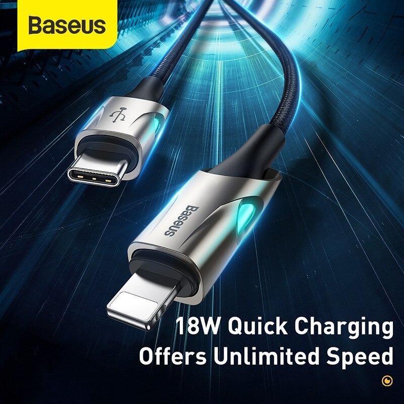 Cáp sạc nhanh, siêu bền C to Lightning Baseus Fish eye Cable cho iPhone/iPad (18W, Power Delivery Fast Charging Cable) - Hàng chính hãng